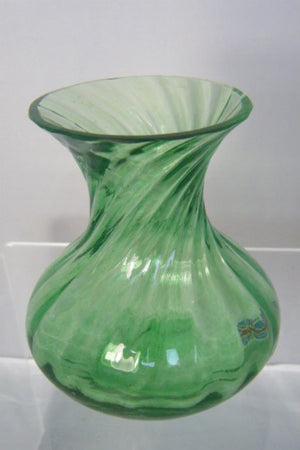 Handmade glass emerald posy vase