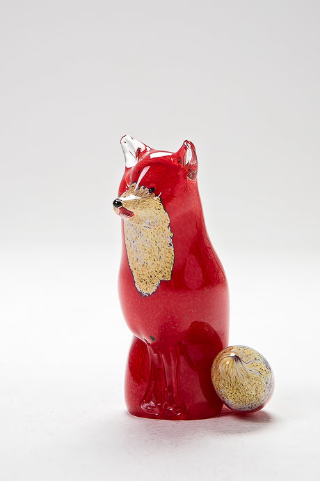 Beautiful Sitting Fox, handmade by Langham Glass in Norfolk