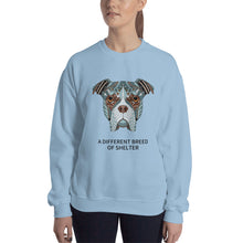 "Load image into Gallery viewer, ""A Different Breed of Shelter"" Graphic Unisex Sweatshirt"