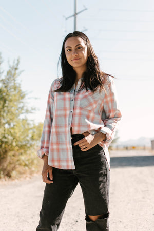 Load image into Gallery viewer, Blue & Pink Plaid Shirt