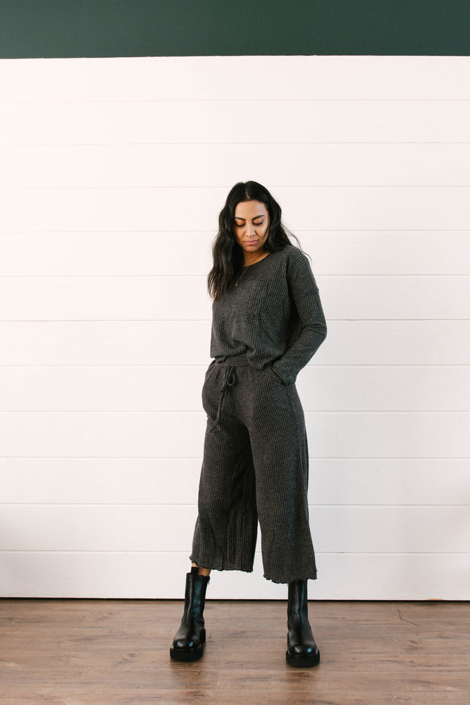 Load image into Gallery viewer, Charcoal Rib Knit Set