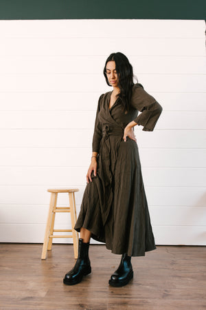 Wrap Around Belt Tencel Dress