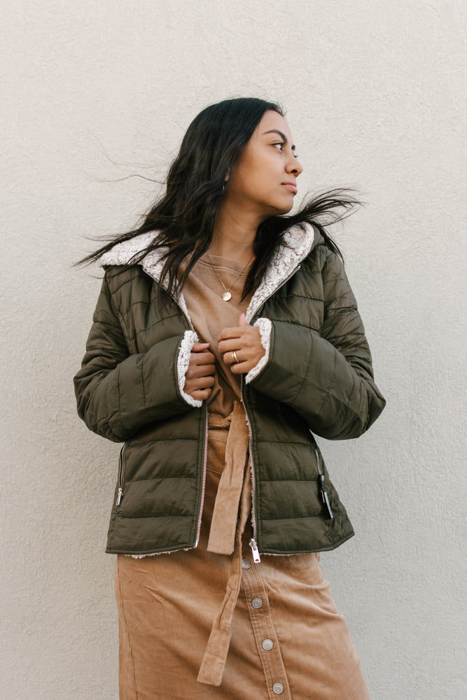 Olive Sherpa Puffer Reversible Jacket