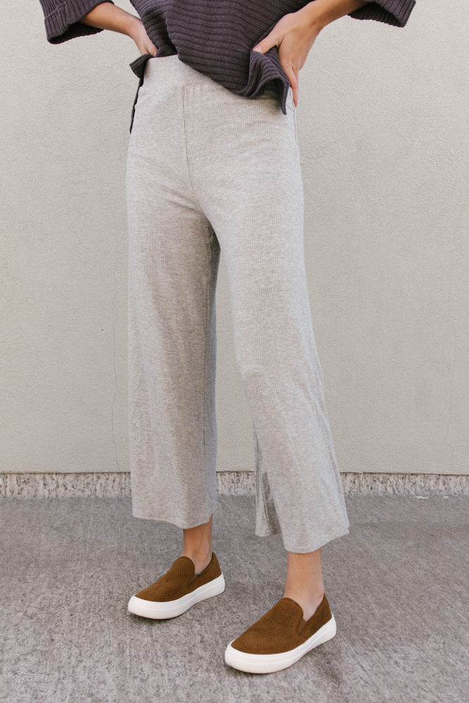 Load image into Gallery viewer, Light Grey Wide Leg Stretch Pants