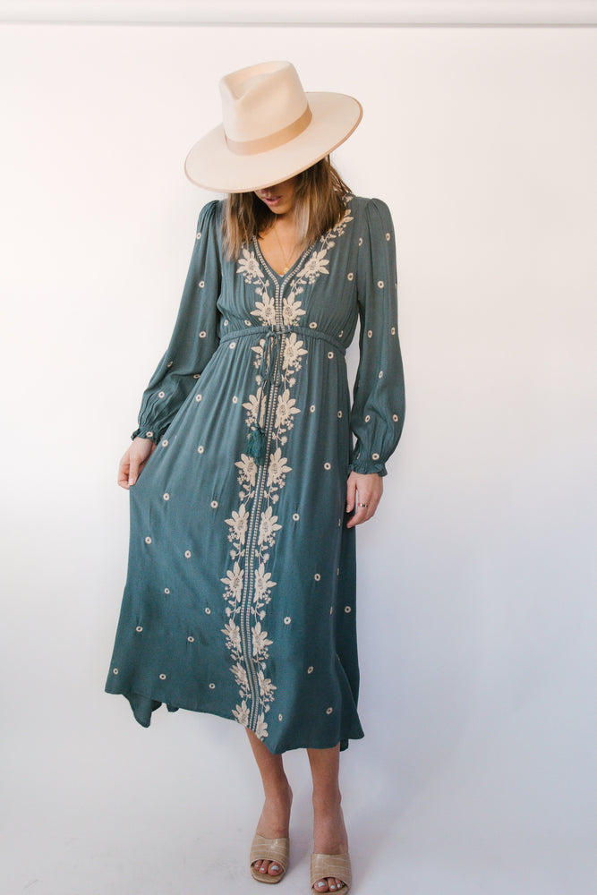 Dusty Slate Speckled Embroidered Dress