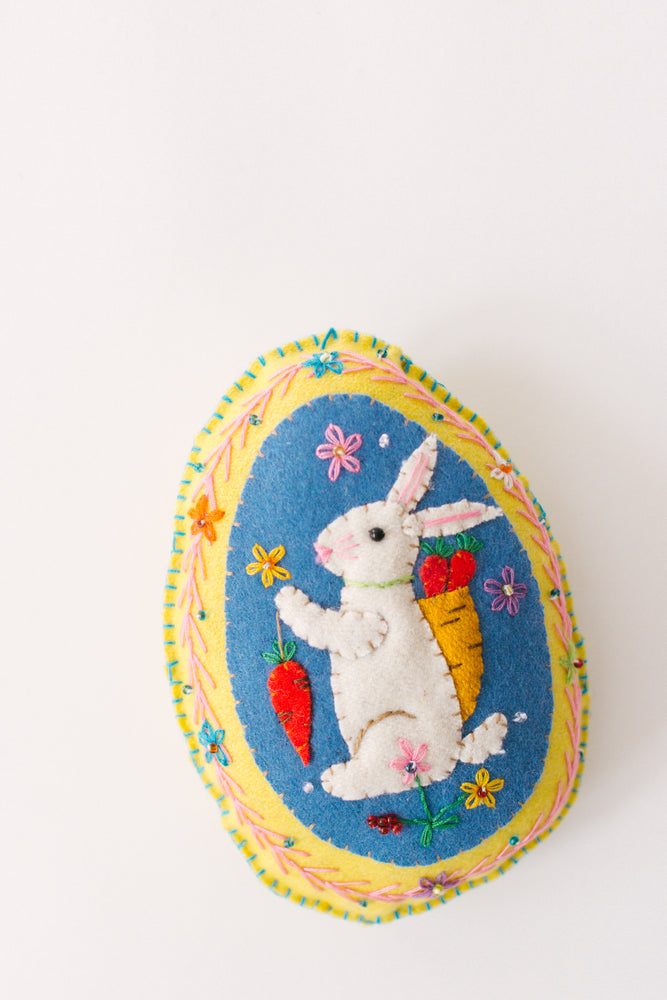 Large Felt Egg W/ Rabbit