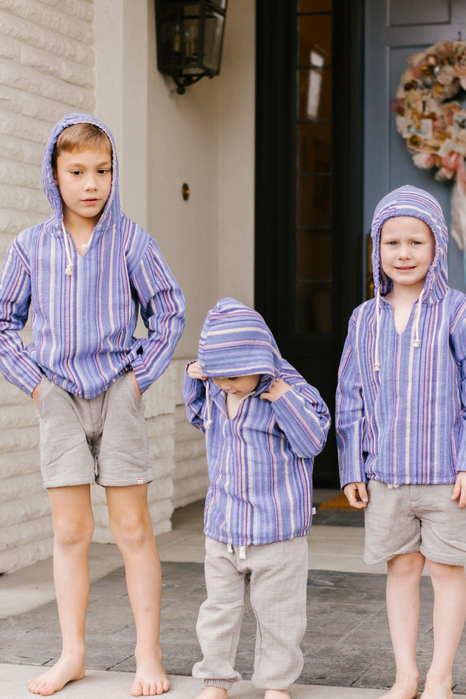 Boy's Hooded LS Top Multi Stripes