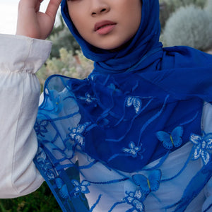 """ Parinaz "" Royal Blue  Butterfly Hijab Shawl"