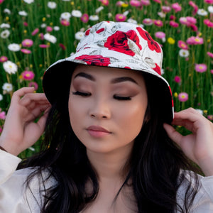 Rose Florals Reversible Two Sided Bucket Hat