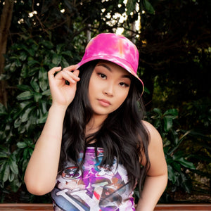Pink and Black Tie Dye Reversible Two Sided Bucket Hat
