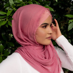 """ Gul Gulab  "" Nude Pin Ultra Soft Cotton Crinkle Hijab Shawl"