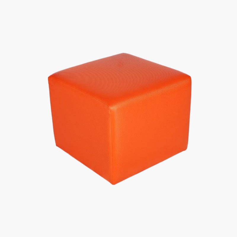 Pouf carré cuir orange vente mobilier