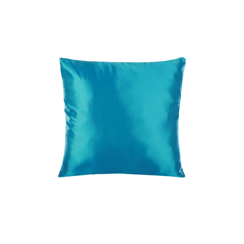 coussin satin turquoise