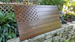 Dark Walnut Carved 50 Stars with Recessed Stripes