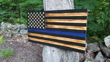 Load image into Gallery viewer, Thin Blue Line Carved 50 Stars with Recessed Stripes