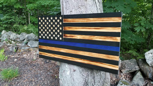 Thin Blue Line Carved 50 Stars with Recessed Stripes