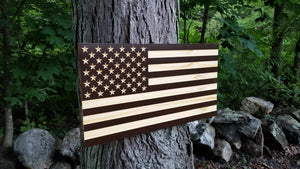 Two Tone Carved 50 Stars with Recessed Stripes