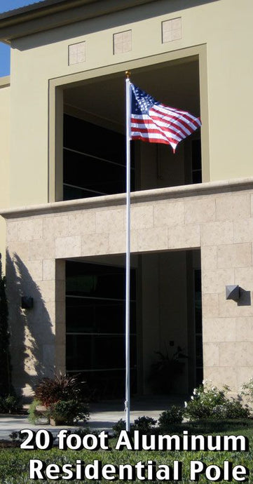 20ft Aluminum Residential Pole (Ball) w/US Flag