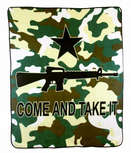 Come and Take It Rifle (Camo) 50x60in Blanket Polar Fleece