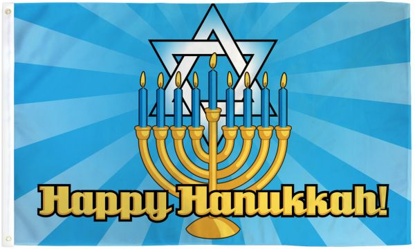 Happy Hanukkah Flag 3x5 Poly