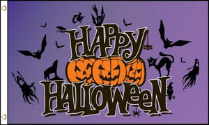 Happy Halloween (Purple) Flag 3x5 Poly
