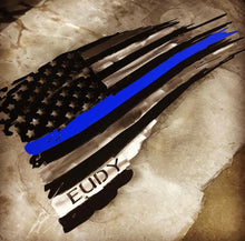 Load image into Gallery viewer, Thin Blue Line Tattered Flag