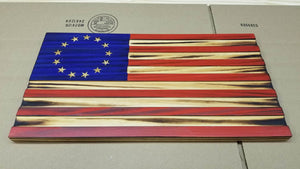 Red White and Blue Carved Betsy Ross 13 Stars with Recessed Stripes