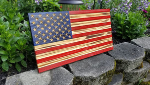Red White and Blue Carved 50 Stars with Recessed Stripes