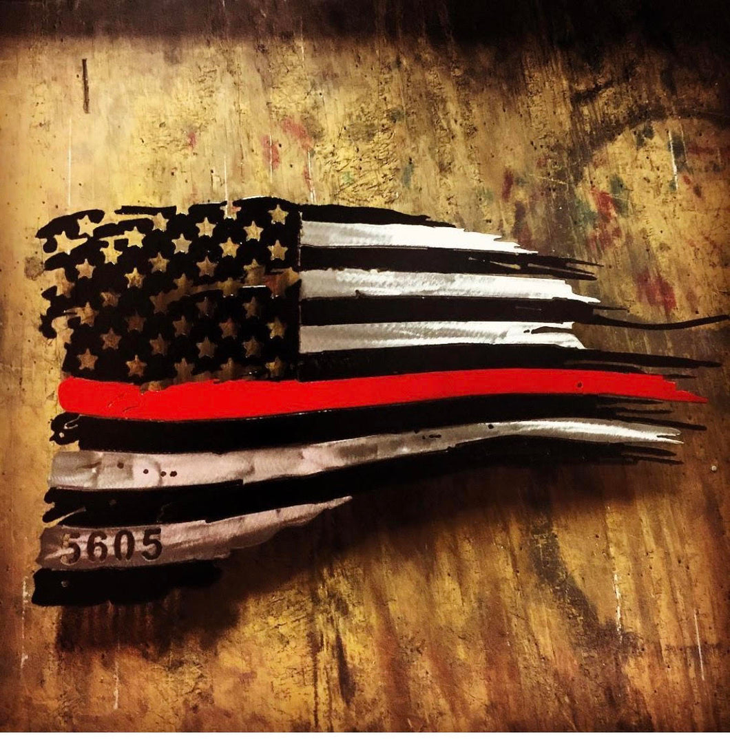 Thin Red Line Tattered Flag