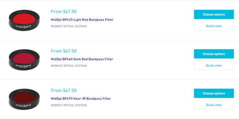 MidOpt Bandpass Filter Red Color Options