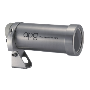 "APG 35C-FC Camera Enclosure with RVSI 1515 Arm, Not Food Grade, NEMA4, IP65, 7.5"" Barrel Length, KG1 Viewport, No Air Curtain Face Plate, Not Air Cooled, Sealed - Machine Vision Direct"