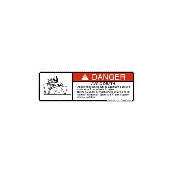 Danger Attachment Forced Against Ground Bobcat Decal 6702301