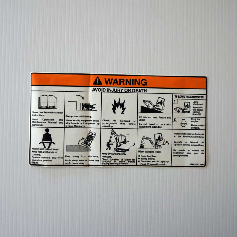 Excavator Operation Warning Decal 6807776