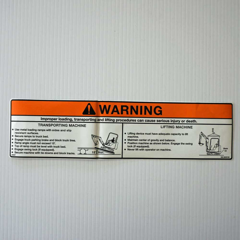Excavator Loading Transporting and Lifting Safety Decal 6808185