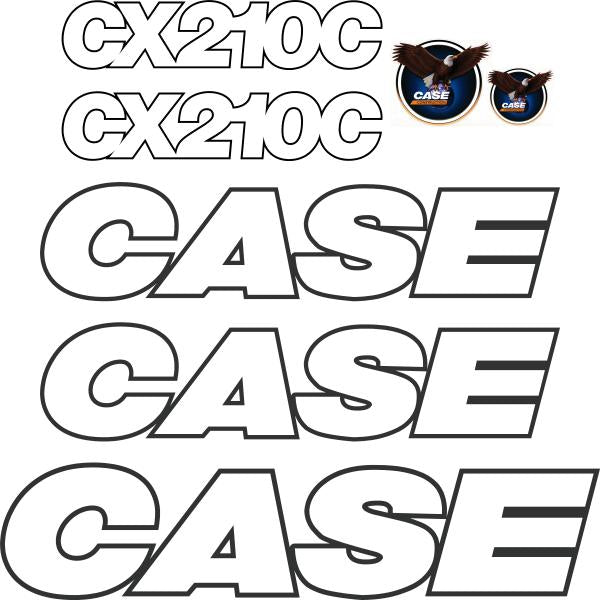 Case CX210C Decals Stickers Set - Later Style