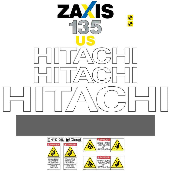 Hitachi ZX135US-3 Decals Stickers