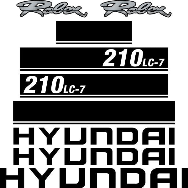Hyundai 210LC-7 Decals Stickers