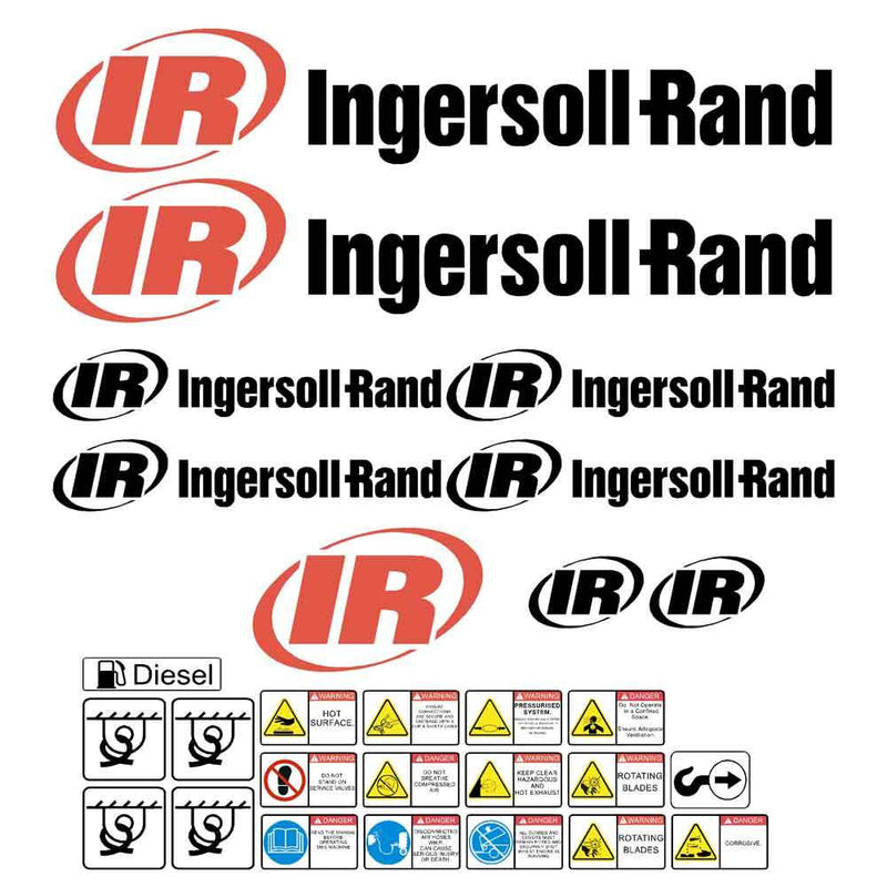Ingersoll Rand Compressor Decal Sticker Set