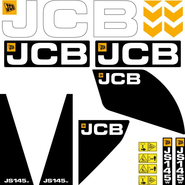 JCB JS145 W Decals Stickers Set