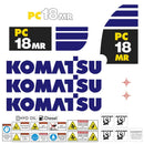 Komatsu PC18MR Decal Sticker Set