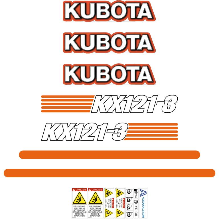 Kubota KX121-3 Decals Stickers Set