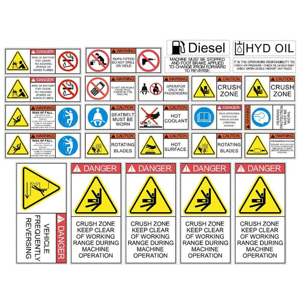 Roller Safety Decals Stickers Kit