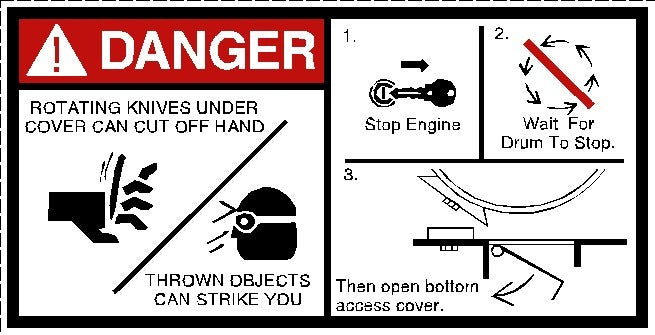 Danger Rotating Cutter Knives Decal