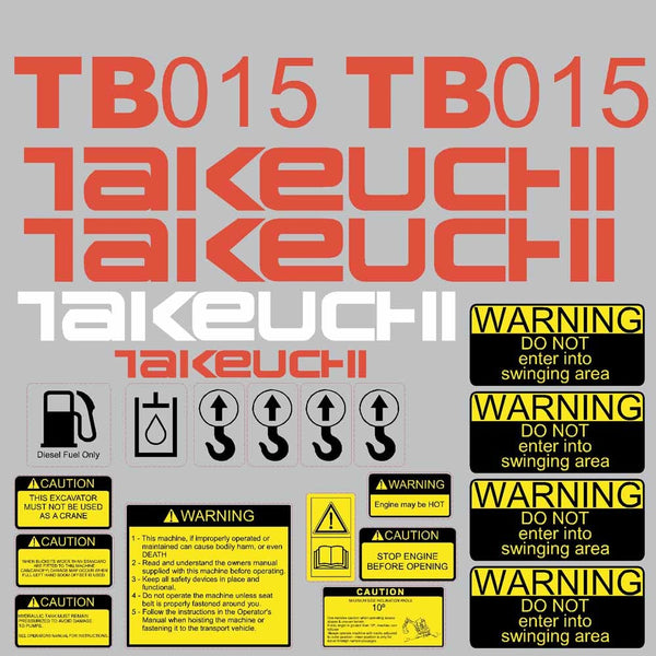 Takeuchi TB015 Decal Sticker Kit
