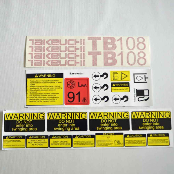 Takeuchi TB108 Decal Sticker Kit