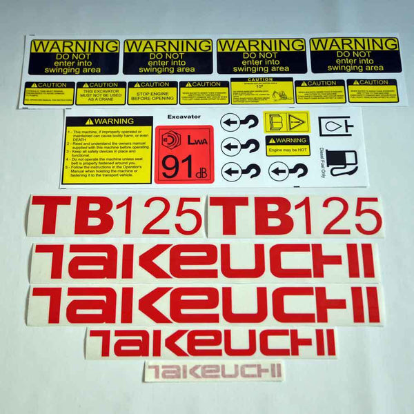 Takeuchi TB125 Decal Sticker Kit