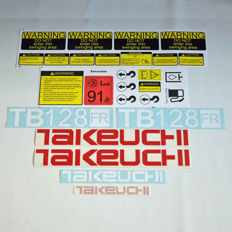 Takeuchi TB128FR Decal Sticker Kit