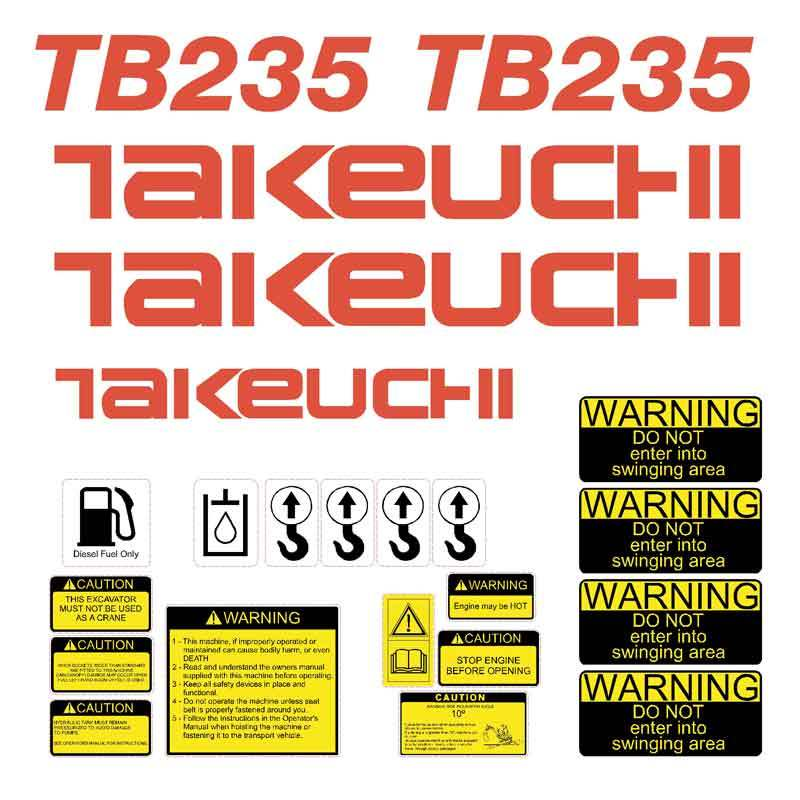 Takeuchi TB235 Decals Stickers Kit