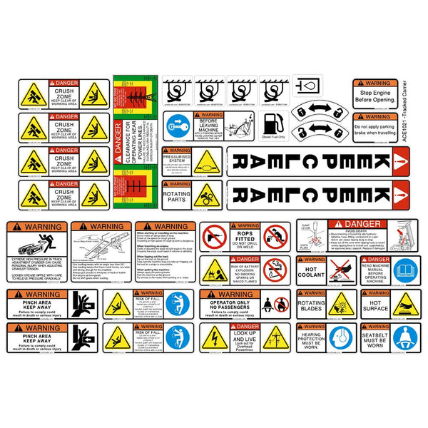 Tracked Carrier Dumper Safety Decals