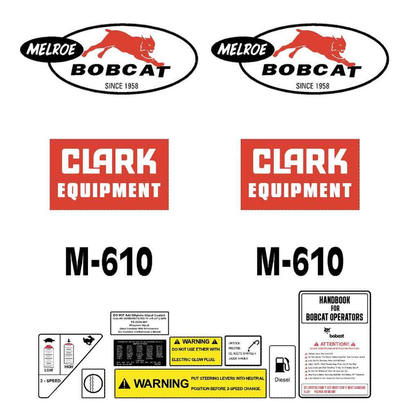 Bobcat Melroe M610 Decals Stickers